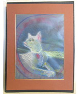 Cat Pastel Matted Drawing - $66.82