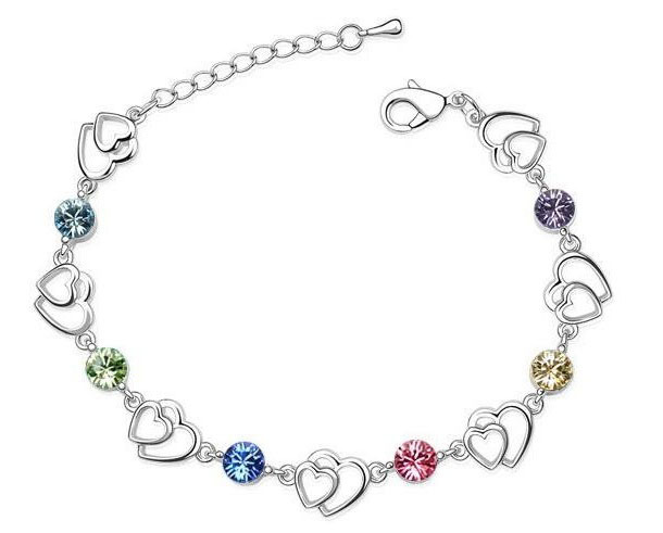 Primary image for Swarovski Elements Multi Crystal Double Heart Platinum Plated Bracelet
