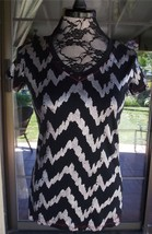 "Short Sleeve Metallic Silver Black Knit Cruel Shirt Sz. M   36"" Bust - $9.89"
