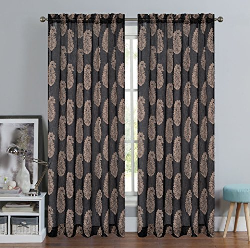 Urbanest 54-inch by 84-inch Paisley Set of 2 Faux Linen Sheer Drapery Curtain Pa