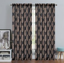 Urbanest 54-inch by 84-inch Paisley Set of 2 Faux Linen Sheer Drapery Curtain Pa image 1