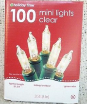 Holiday Time 100 Clear Mini Lights, Green Wire - $13.98
