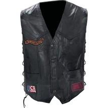 Mens Black Leather Biker Motorcycle Harley Rider Chopper Vest Eagle Patch - $48.99+