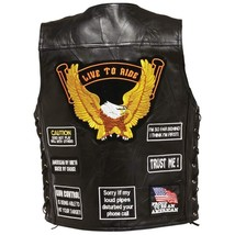 Mens Black Leather Biker Motorcycle Harley Rider Chopper Vest Fleece Lining - $52.99+