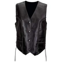 Ladies Black Leather Biker Motorcycle Honda Harley Rider Vest Laced Sides - $54.99