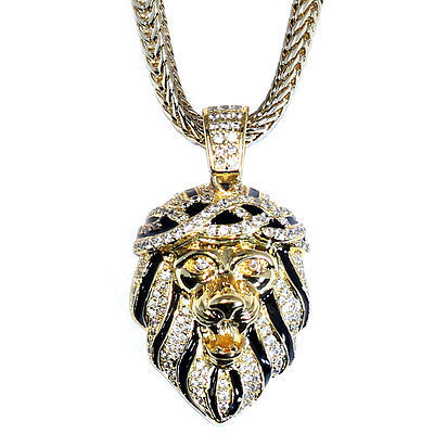 18k Gold Plated CZ Roaring Lion Pendant with 30 inch Franco Chain High Quality