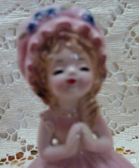Vintage Josef Original Girl Figurine // Pink Dress With Bonnet