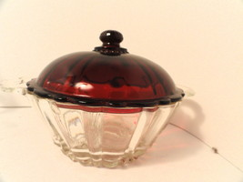 Original Old Cafe Depression Glass Candy Ruby w Mint Lid - see condition - $39.99