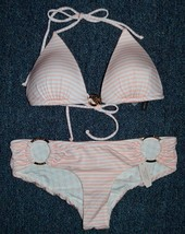 NEW Victoria's Secret Light Pink Stripped Swim Bikini Top & Hipster. Small - $42.00