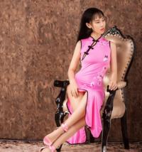 Women Sexy Long Cheongsam Dress High Split Vintage Qipao Pajamas Slim Stylish image 8