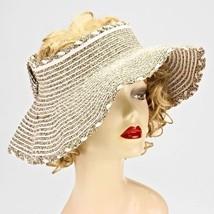 Khaki Stripe Straw Floppy Visor Sweet Bow Trim Foldable Beach Hat 70576 - $261,78 MXN