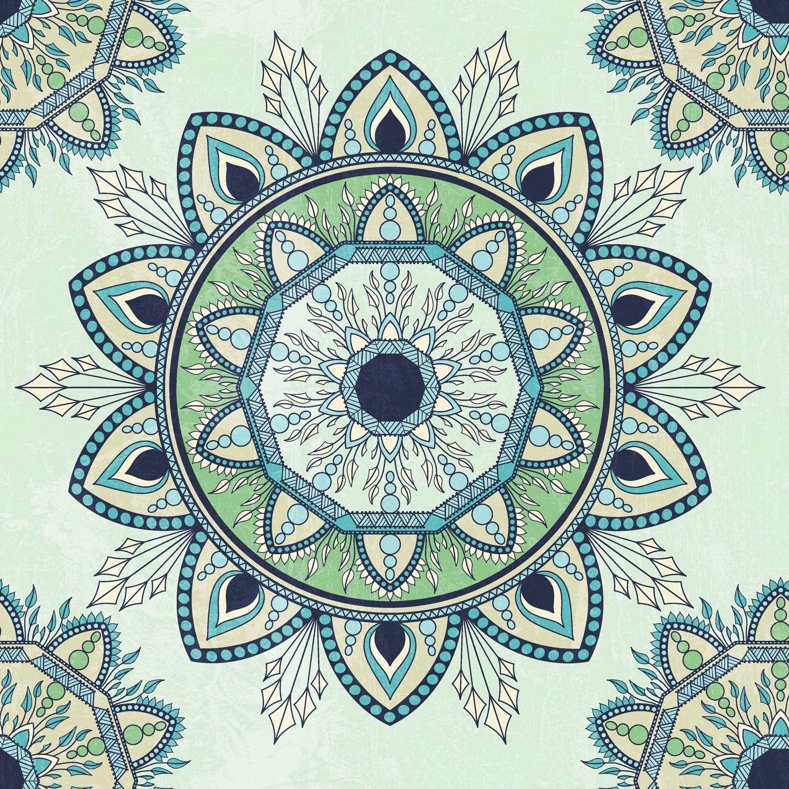 "Ashley Green Mandala Pattern Fabric Bathroom Shower Curtain 70""x72"""