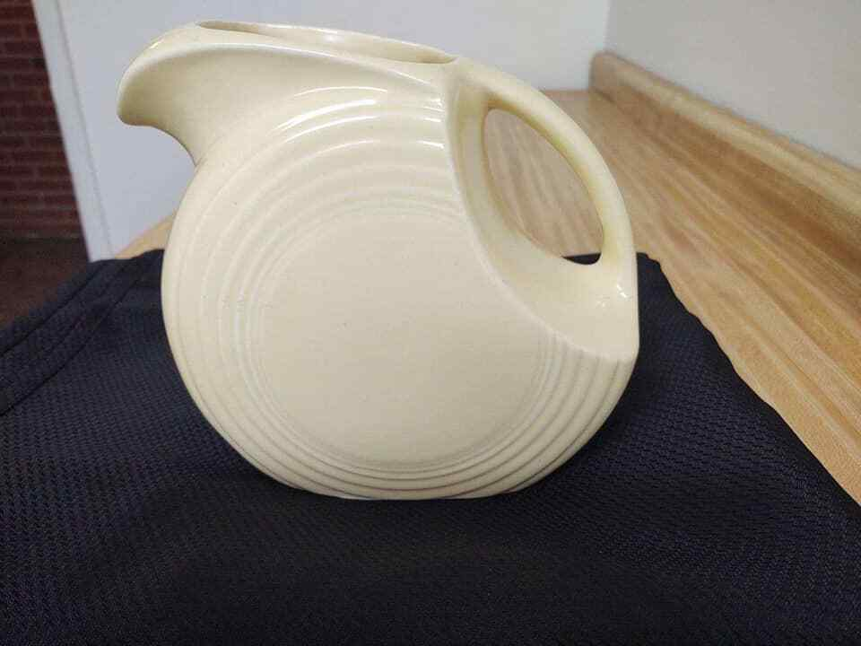 Primary image for Vintage Fiesta ware ivory disc pitcher.