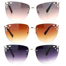 SA106 Diecut Floral Trim Rectangular Rimless Butterfly Sunglasses - $12.95