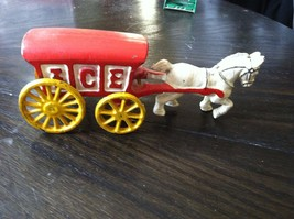 VINTAGE CAST IRON HORSE w/ RED ICE WAGON Yellow... - $23.36