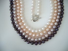 18''- 7mm Cultured Freshwater Pearl Necklace Various Color Choices - £64.56 GBP