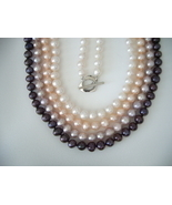 18''- 7mm Cultured Freshwater Pearl Necklace Various Color Choices - £67.35 GBP
