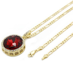 "Mens 14k Gold Plated Iced Out Red Ruby Round Pendant Hip-Hop 30"" Figaro ... - $16.82"