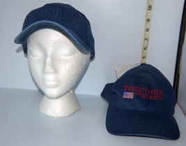 """Lot of 2 Blue Baseball Style Caps/Hats 100% Cotton """"Together We Stand"""" & Plain - $20.79"""