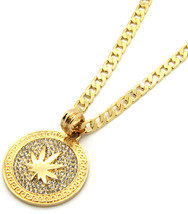 "Mens Medallion Marijuana Gold Clear 24"" Cuban Curb Chain Pendant Necklace - $13.85"