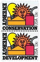 1977 13c Energy Conservation & Development, Pair Scott 1723-24 Mint F/VF NH - $0.99