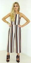 New Womens Ladies Strappy Tie Back Culotte Jumpsuit Stripe Size 8-14 UK - $15.86