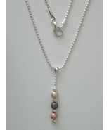 "Triple Metal Foil Bead Pendant w/ 16"" Sterling Silver 1.5 mm Bead Chain"" - $24.00"