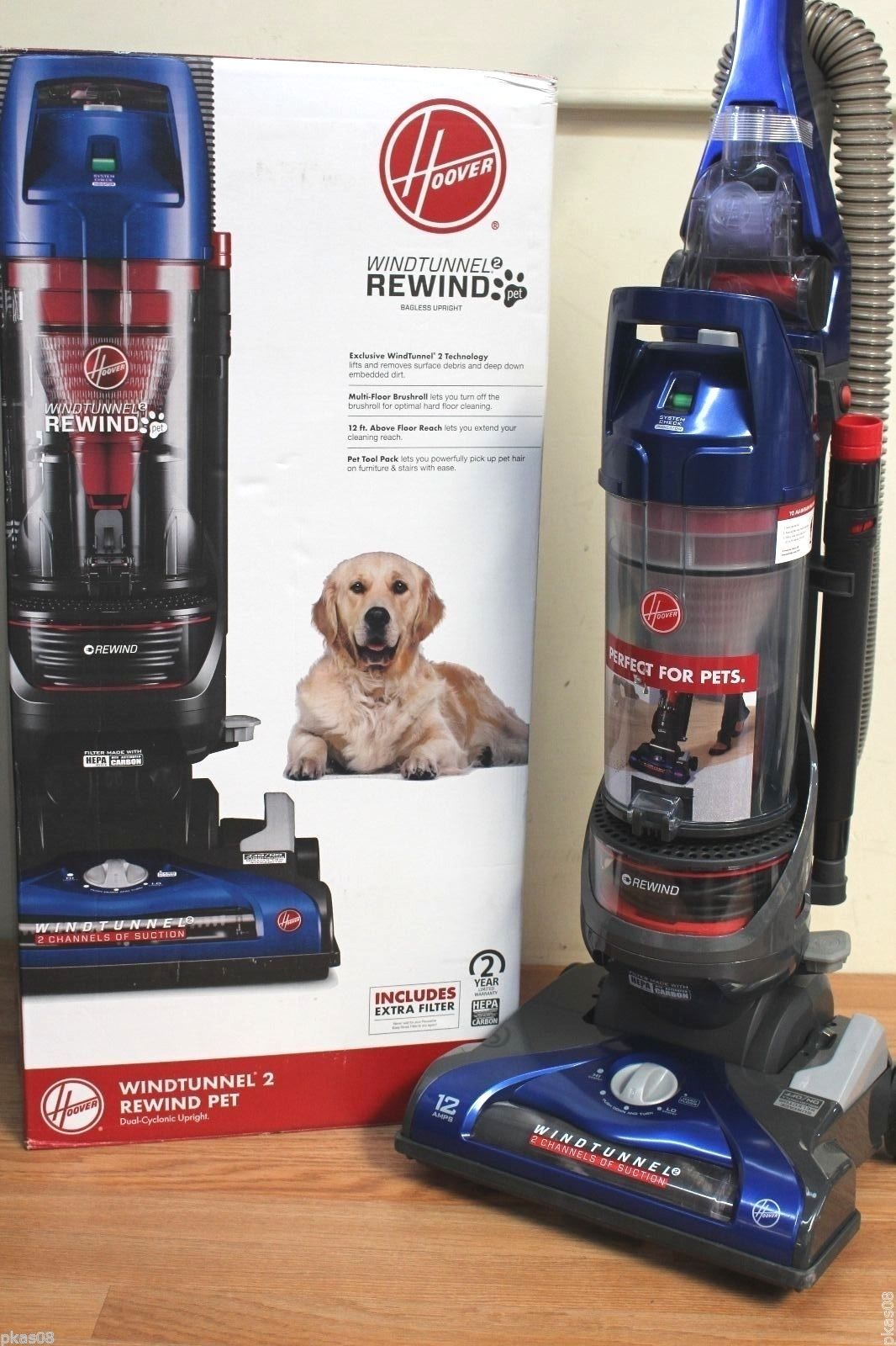 Hoover WindTunnel 2 Rewind Bagless Upright Vacuum UH71215 With All