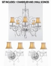 3pc Lighting Set - Crystal Chandelier and 2 Wall Sconces With White Shades! - $265.74