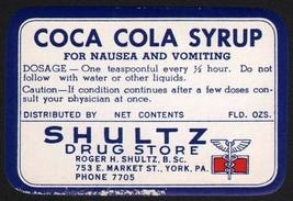 Vintage label COCA COLA SYRUP Shultz Drug Store York PA unused in n-mint... - $6.99