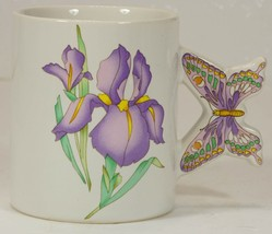 vintage Iris Mug with Butterfly Handle made in Japan - $12.99