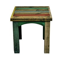 Painted Reclaimed Slatted Wood End Table Solid Wood Rustic Western Cabin... - $237.59
