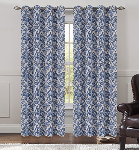 Urbanest 50-inch by 84-inch Set of 2 Jacquard Fern Drapery Curtain Panel with Gr