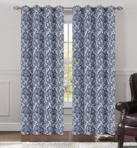 Urbanest 50-inch by 84-inch Set of 2 Jacquard Fern Drapery Curtain Panel with Gr image 1