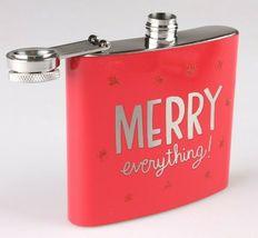 Merry Everything Metal Pocket Hip Flask 5 oz Christmas Alcohol Whisky Vodka NEW image 3
