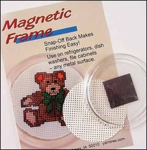 "Acrylic Round vinyl weave 2.25"" magnetic frame refirgerator cross stitch  - $4.00"