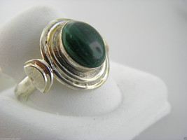 Sterling Silver 925 Antique Oval Malachite Ring Size 6.75 #4 - $18.81