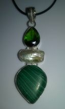 Genuine Natural Freshwater Pearl & Malachite Gemstone Pendant On Black C... - $14.99