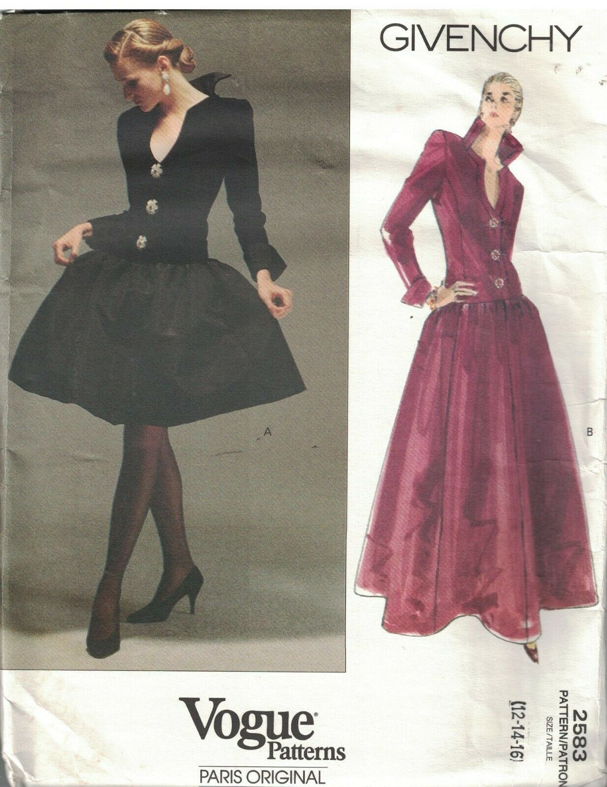 2583 Vogue Sewing Pattern Misses Lined Evening Length Dress Givenchy 12 14 16