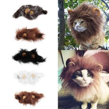 Lion Cat Wig Mane Costume Pet Dress Up Halloween Party Dog Ears Hat Cosplay - $7.48