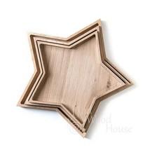 Handmade Christmas  star shape different size plates set from oak - $73.00