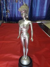 """Barbie Statuette Faux Pewter Mattel 1998 14"""" Tall with Stand. - $6,434.01"""