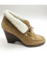 MICHAEL KORS 9.5 M • $389 Shearling-Lined Suede Wedge Tan Moccasin Boots... - $64.35