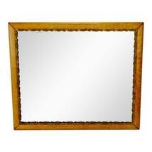 Antique Oak Framed Mirror with Gilt Filigree Carved Wood Trim - $495.00