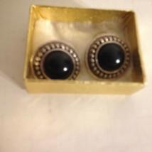 "Vintage Silver Tone Metal Button Black Dome Bead Pierced Earrings 1"" - $12.82"