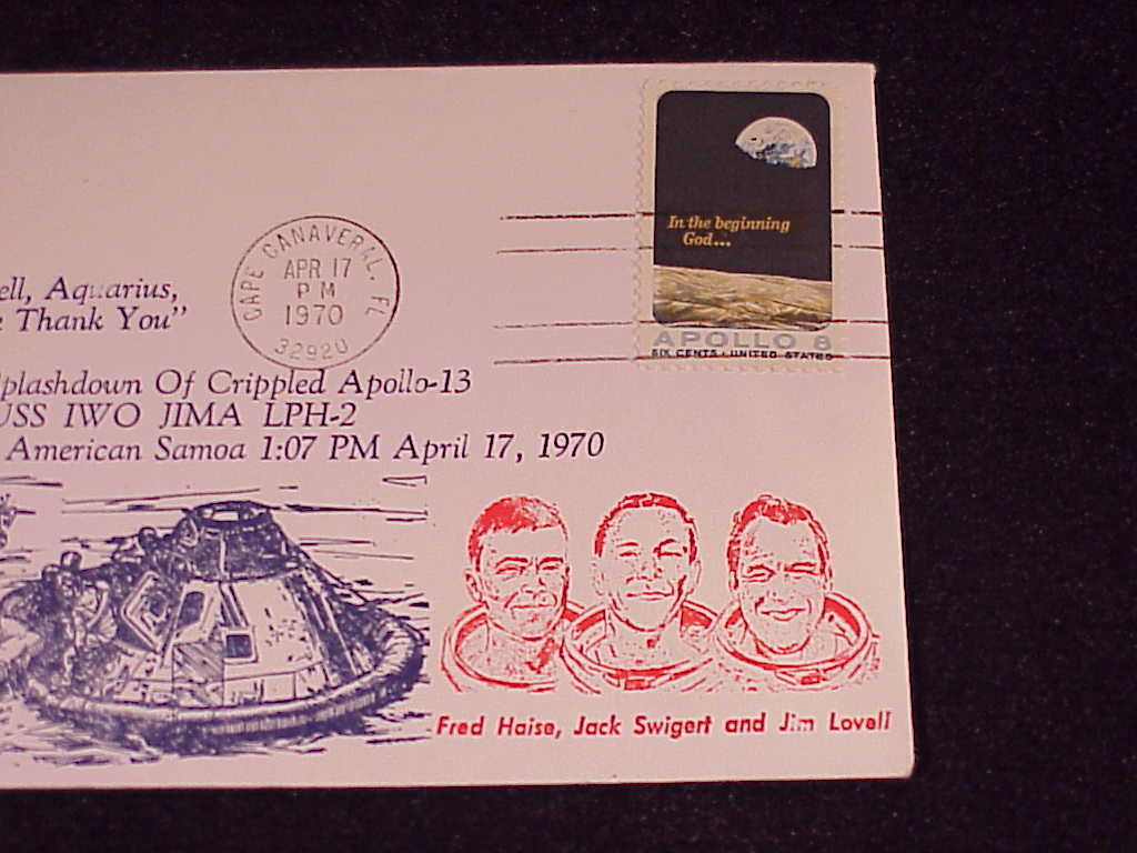 1970 Apollo 13 Re-Entry Cover Envelope with Apollo 8 Stamp, Cape Canaveral, FL