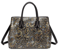 New Jair Floral Embossed Italian Leather Tote Satchel Handbag Shoulder Bag - $138.55