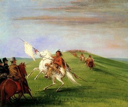 Comanche Meeting The Dragoons American Usa Indian 1834 By George Catlin Repro - $10.96+
