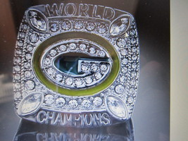 Green Bay Packers Replica World Champion (Aa Ron Rogers) RING.14KWHITE Gold Plat - $13.00