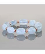 Oval Aquamarine & Round Hematite Gemstone Smooth Beads Elastic Stretch B... - $38.99